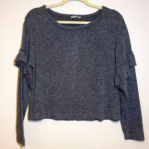 ZARA Collection Ruffle Long Sleeves Gray Sweater S